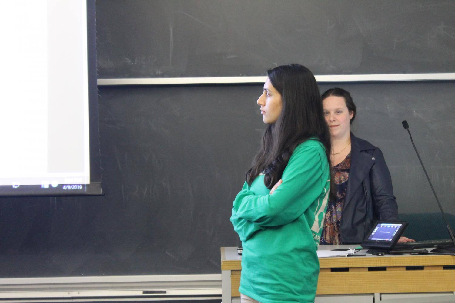 Student representatives on the Curriculum Task Force Noor Bibi ('21) and Cassie Michel ('20) lead the open forum.