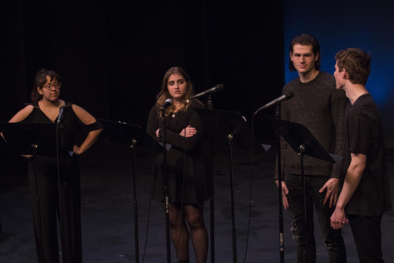 "Evan Lobdell ('20), Ian Crum ('22), Annie Thoma ('22), and Mayalyn Cott ('19) perform in ""The Matchgirl."""