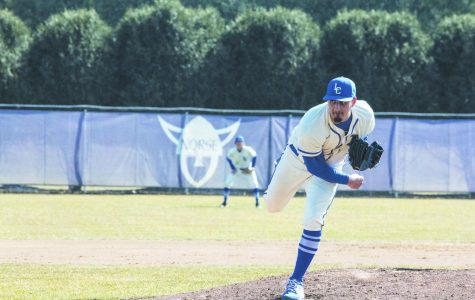 John Colucci III ('22) pitches during a game against Wartburg College on April 2.