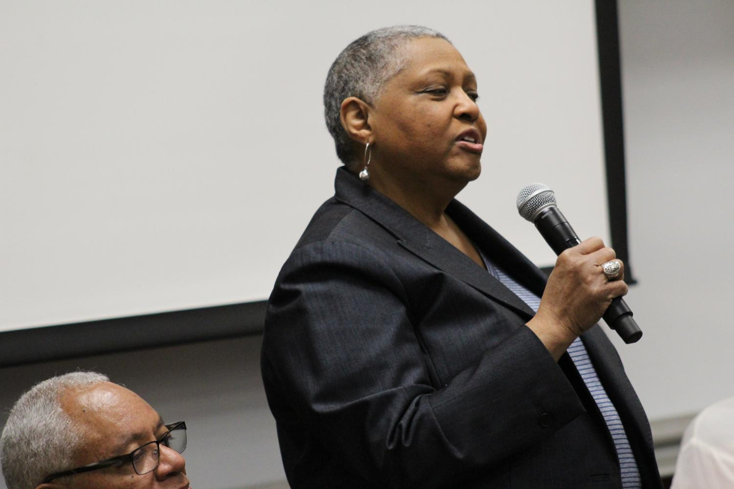 Barbara Fuller ('72) speaking during  a panel discussion as part of the BSU 50th events.