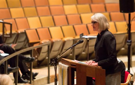 President Paula J. Carlson has her last Chapel talk before retiring