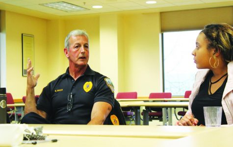 """Tea and Talk"": Campus Security, Decorah Police Department, and CIES co-host an informal meeting with students."