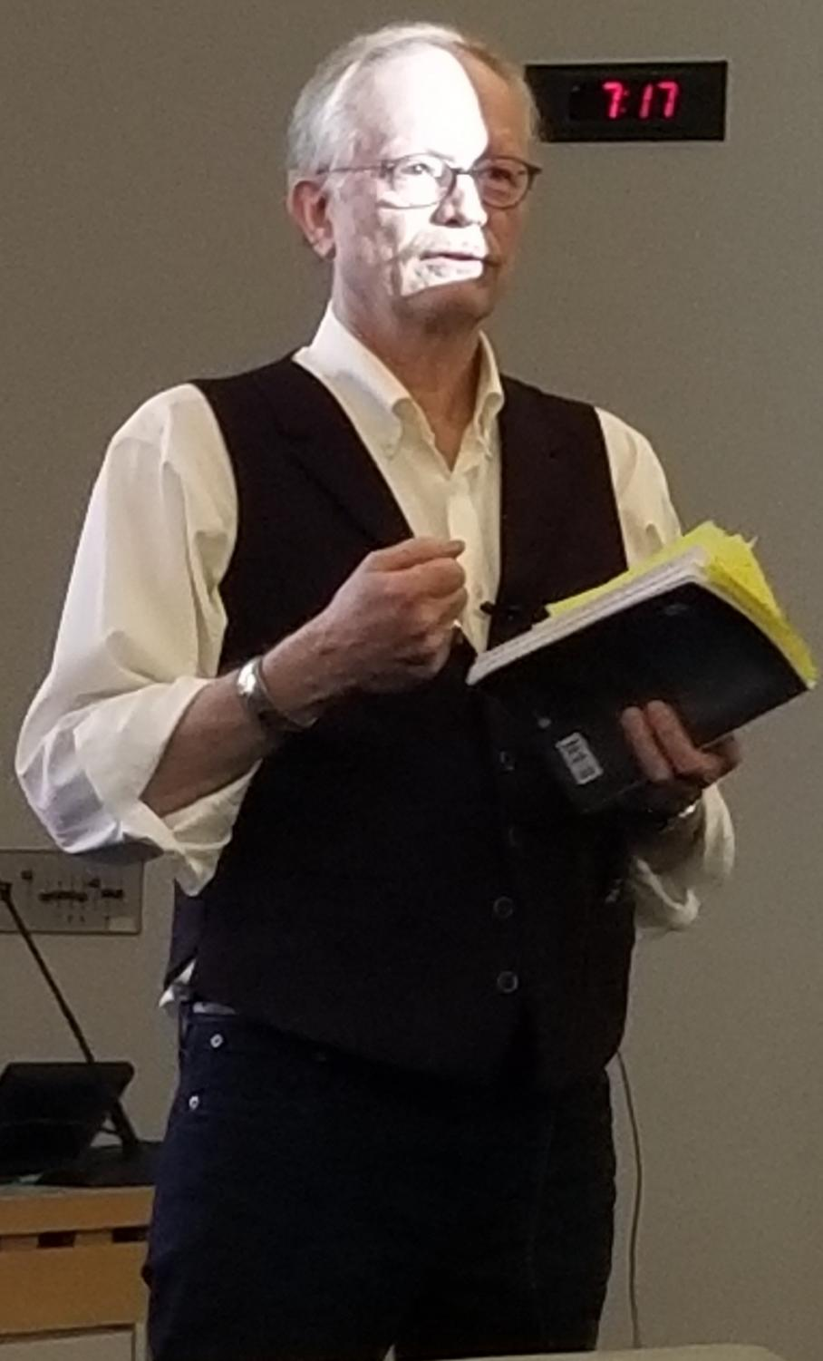 David Faldet ('79) gives reading of his new book,