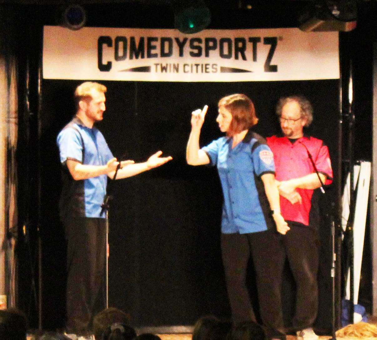 Comedy Sportz players performing in Marty's.