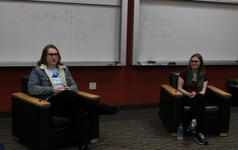 Samantha Douglas ('21) and Athena Hatfield ('21) respond to questions during PRIDE's