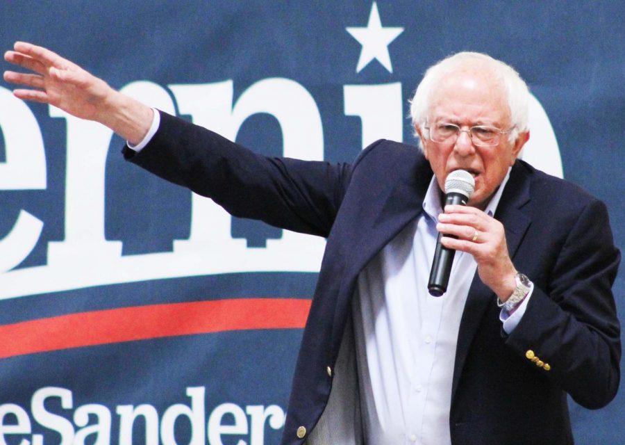 Sen. Bernie Sanders addresses community members in Regents Center's North Gym.