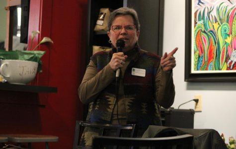 Mayor Lorraine Borowski ('70) opens the first monthly community forum on Oct.24 at Java John's.