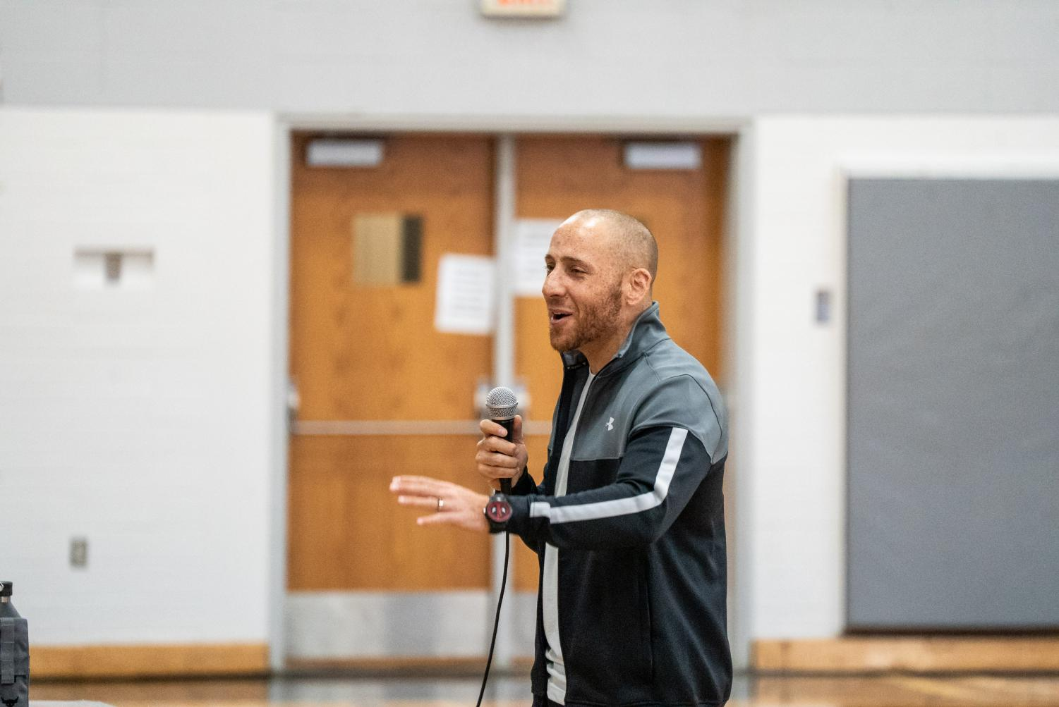 Suicide prevention advocate Kevin Hines shares his story in the Regents Main Gym on Nov. 19.