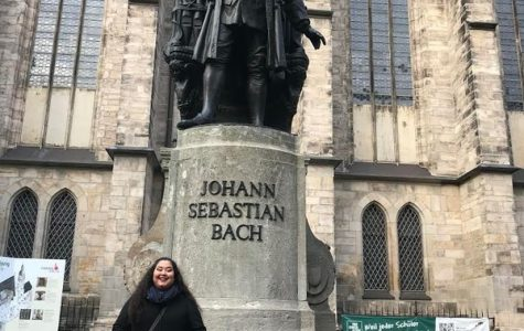 Ellie Palashewski ('22) poses on a J-Term trip in Leipzig, Germany.