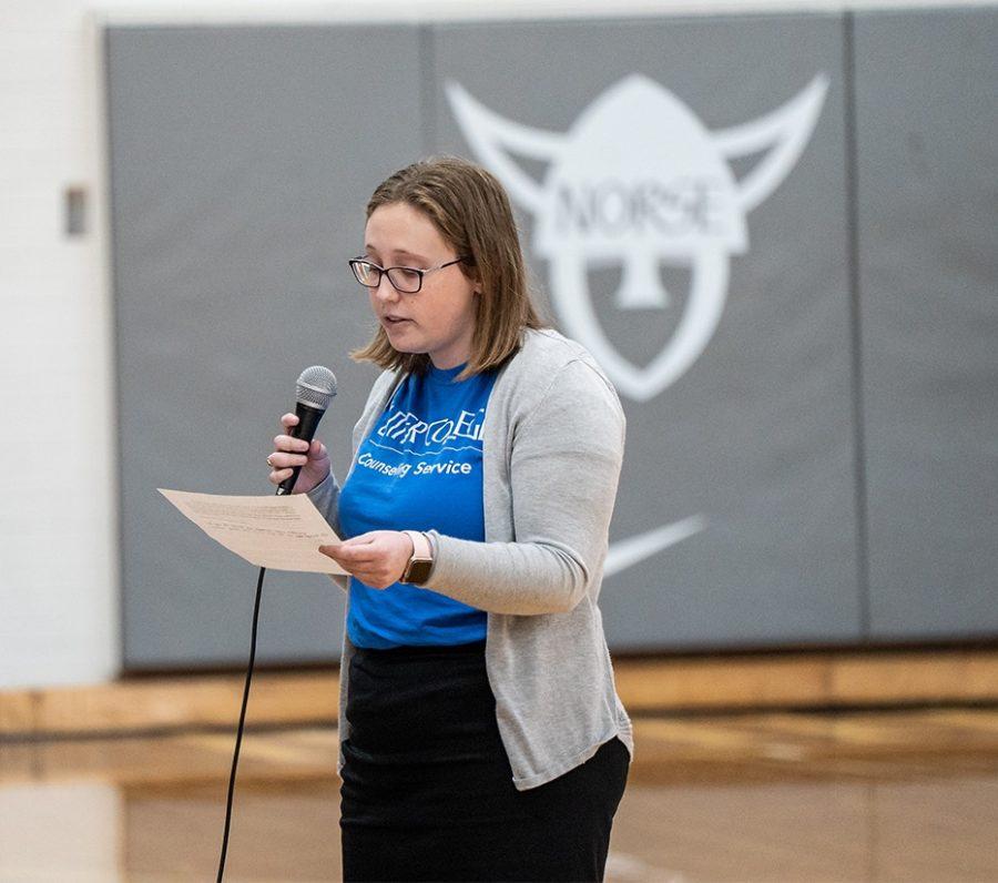 Hannah Wollack ('20) introducing Kevin Hines last November.