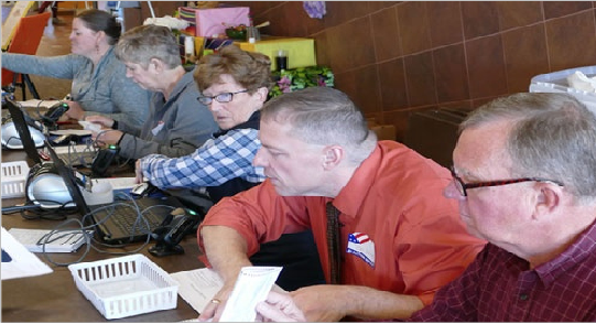 Community volunteers manned the polls in the Dahl Centennial Union (photo from 2018).