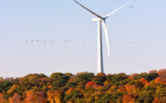Luther College's wind turbine. 				                                               Photo courtesy of Photo Bureau