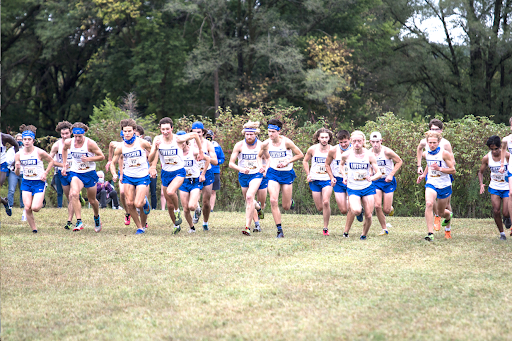 The Luther Men's Cross Country team starts a triangular race earlier in the season against Wartburg and Dubuque.