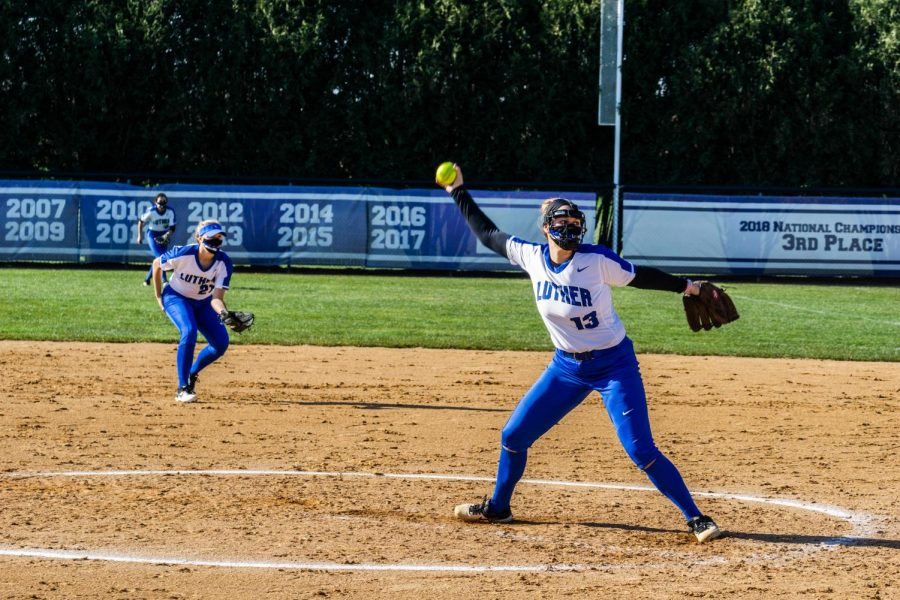 Luther pitcher Abby Gapinski (#13) ('22) throws a strike during a fall 2020 practice.