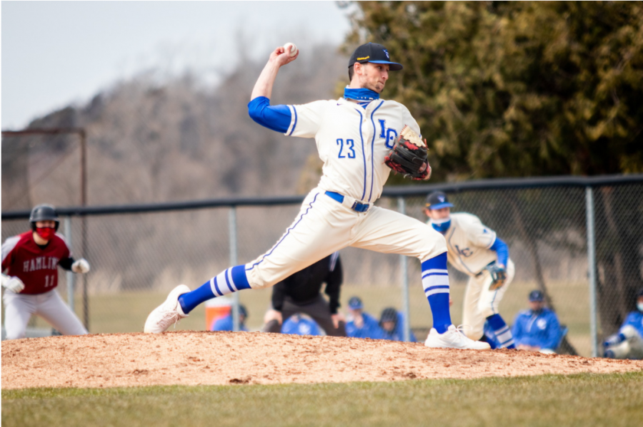 Luther pitcher Nick Dufoe ('22) throws a pitch during the first of two games against Hamline on March 21. Dufoe pitched eight innings and only allowed one earned run.