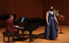 Assistant Professor of Music in Collaborative Piano and Vocal Coaching Nicholas Shaneyfelt (left) accompanies Mikaela Hanrahan (right). Photo courtesy of Jackson Geadelmann ('23) | Chips