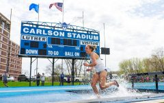 Lauren Berg won the Women's 3000 meter steeplechase with a time of 12.22.14. It was her first time ever competing in the event. (Photo courtesy of Nick Greseth and Luther College Photo Bureau)