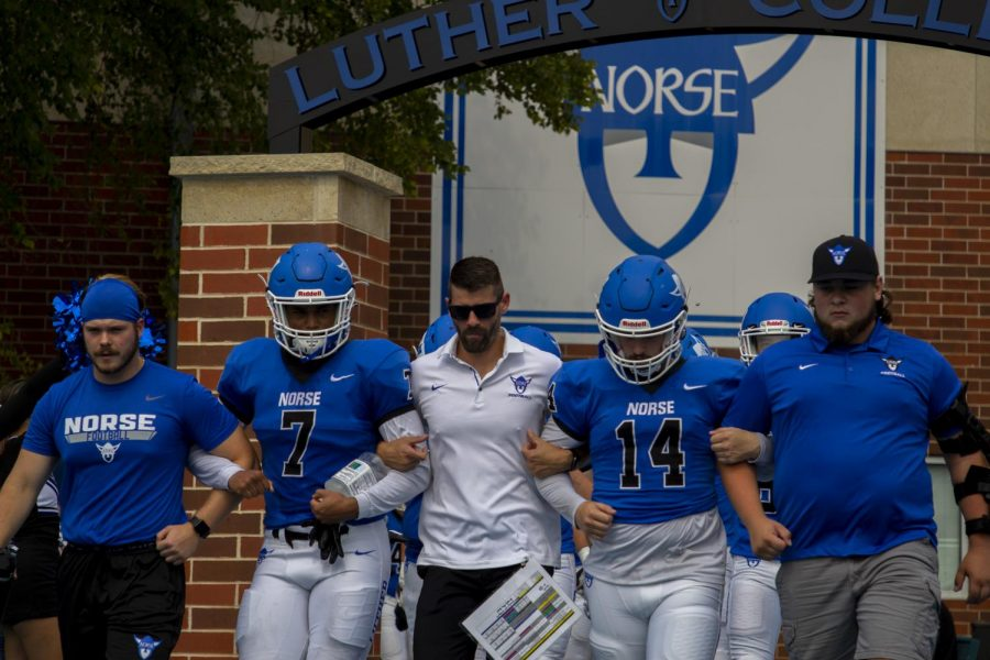 Luther enters Carlson Stadium prior to their game against Dubuque on September 18. Photo from Luther Photo Bureau
