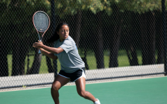 Sofia Sackett ('24) prepares to hit a forehand during the Luther Tennis Alumni Meet on September 18. Sackett was the only player in the American Rivers Conference to win two rounds in both the ITA Singles and Doubles tournaments. (Photo Courtesy of Luther Photo Bureau)